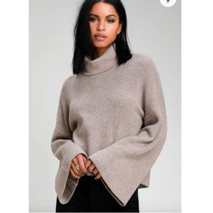 Fireside Chats Taupe Knit Turtleneck Sweater